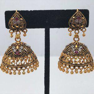Jhumka Women Earrings Gold Tone Traditional Indian